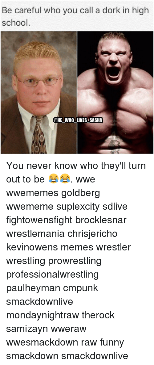 Memes, 🤖, and Goldbergs: Be careful who you call a dork in high  school  @HE WHO LIKES SASHA You never know who they'll turn out to be 😂😂. wwe wwememes goldberg wwememe suplexcity sdlive fightowensfight brocklesnar wrestlemania chrisjericho kevinowens memes wrestler wrestling prowrestling professionalwrestling paulheyman cmpunk smackdownlive mondaynightraw therock samizayn wweraw wwesmackdown raw funny smackdown smackdownlive