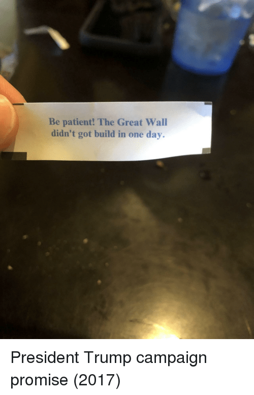 the-great-wall: Be patient! The Great Wall  didn't got build in one day. President Trump campaign promise (2017)