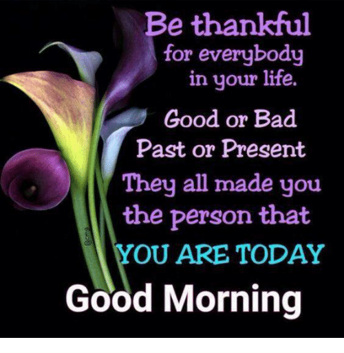 Lifes Good: Be thankful  for everybody  in your life.  Good or Bad  Past or Present  They all made you  the person that  OU ARE TODAY  Good Morning