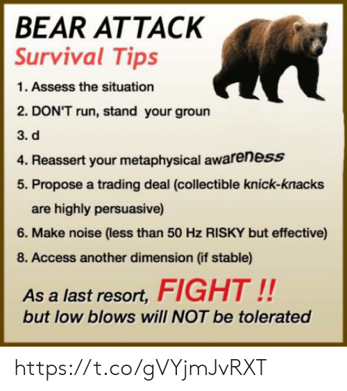 Run, Access, and Bear: BEAR ATTACK  Survival Tips  1. Assess the situation  2. DON'T run, stand your groun  3. d  4. Reassert your metaphysical awareness  5. Propose a trading deal (collectible knick-knacks  are highly persuasive)  6. Make noise (less than 50 Hz RISKY but effective)  8. Access another dimension (if stable)  As a last resort,FIGHT!!  but low blows will NOT be tolerated https://t.co/gVYjmJvRXT