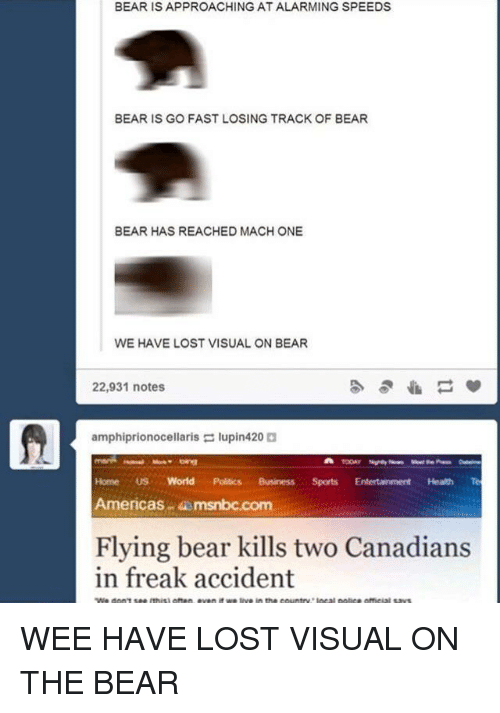Msnbc: BEAR IS APPROACHING AT ALARMING SPEEDS  BEAR IS GO FAST LOSING TRACK OF BEAR  BEAR HAS REACHED MACH ONE  WE HAVE LOST VISUAL ON BEAR  22,931 notes  amphiprionocellaris lupin420  Home US World Politics BusinessSports Entertainment Health Te  Americas msnbc.com  Flying bear kills two Canadians  in freak accident WEE HAVE LOST VISUAL ON THE BEAR