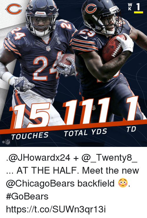 Totaled: BEARS  TD  TOUCHES TOTAL YDS .@JHowardx24 + @_Twenty8_ ... AT THE HALF.  Meet the new @ChicagoBears backfield 😳. #GoBears https://t.co/SUWn3qr13i