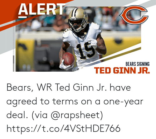 deal: Bears, WR Ted Ginn Jr. have agreed to terms on a one-year deal. (via @rapsheet) https://t.co/4VStHDE766