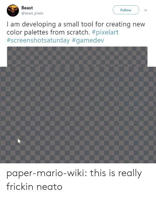 Target, Tumblr, and Twitter: Beast  @beast_pixels  Follow  I am developing a small tool for creating new  color palettes from scratch. paper-mario-wiki:  this is really frickin neato