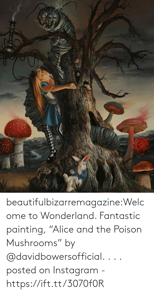 """painting: beautifulbizarremagazine:Welcome to Wonderland. Fantastic painting, """"Alice and the Poison Mushrooms"""" by @davidbowersofficial. . . .         posted on Instagram - https://ift.tt/3070f0R"""