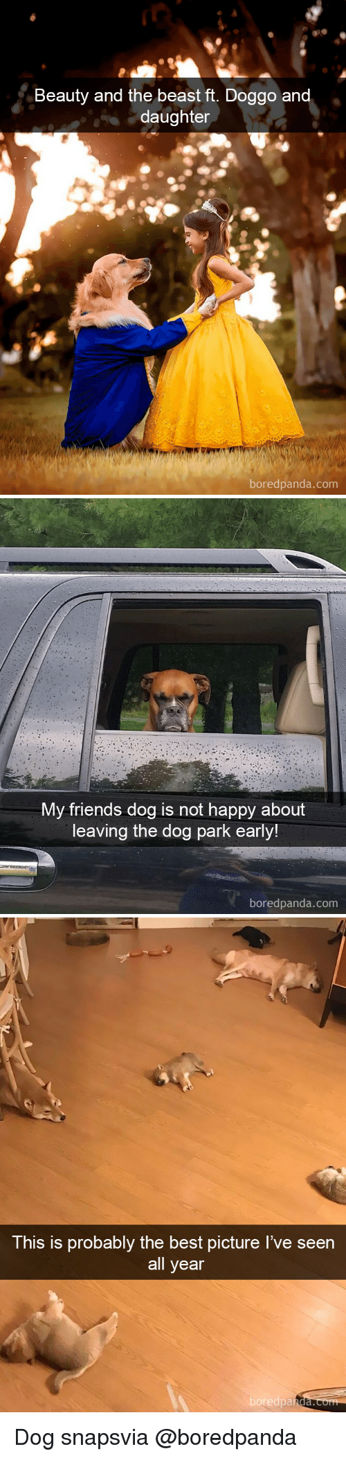 Beauty and the Beast: Beauty and the beast ft. Doggo an  daughter  boredpanda.com   My friends dog is not happy about  leaving the dog park early!  boredpanda.com   This is probably the best picture I've seen  all year  boredpa  nda. Dog snapsvia @boredpanda