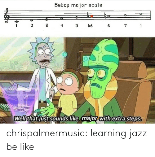 jazz: Bebop major scale  3 4  7 1  1  5  b6  Well that just sounds like major with extra steps. chrispalmermusic:  learning jazz be like