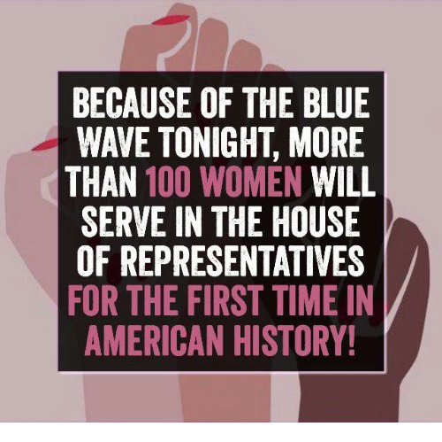 Anaconda, Memes, and American: BECAUSE OF THE BLUE  WAVE TONIGHT, MORE  THAN 100 WOMEN WILL  SERVE IN THE HOUSE  OF REPRESENTATIVES  FOR THE FIRST TIME IN  AMERICAN HISTORY!