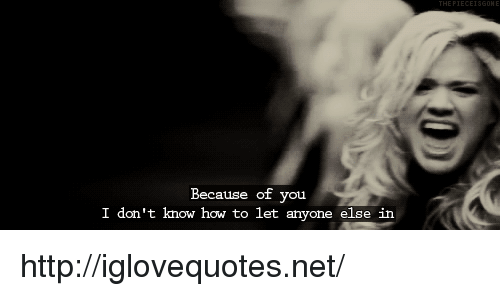 Because of You: Because of you  I don't know how to let anyone else in http://iglovequotes.net/