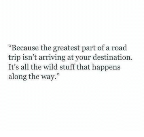 """Stuff, Wild, and All The: """"Because the greatest part of a road  trip isn't arriving at your destination.  It's all the wild stuff that happens  along the way."""""""