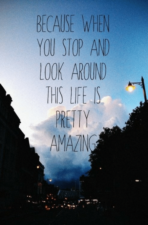 Life, You, and Look: BECAUSE WEN  YOU STOP AN  LOOK AROUND  THIS LIFE IS