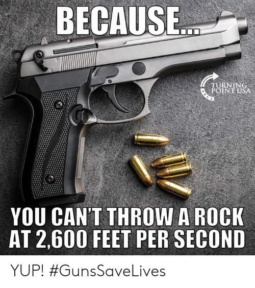 Memes, 🤖, and Feet: BECAUSE  YOU CAN'T THROW A ROCK  AT 2,600 FEET PER SECOND YUP! #GunsSaveLives