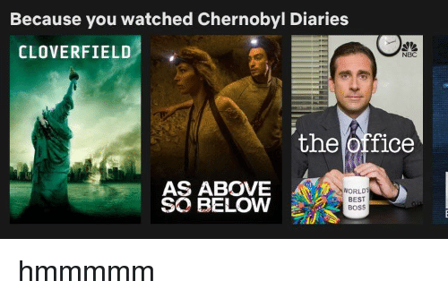 cloverfield: Because you watched Chernobyl Diaries  CLOVERFIELD  NBC  the Office  AS ABOVE  SO BELOW  WORLD  BEST  BoSS
