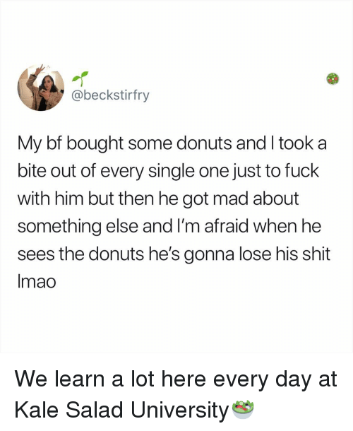 Memes, Shit, and Donuts: @beckstirfry  My bf bought some donuts and I took a  bite out of every single one just to fuck  with him but then he got mad about  something else and l'm afraid when he  sees the donuts he's gonna lose his shit  Imao We learn a lot here every day at Kale Salad University🥗