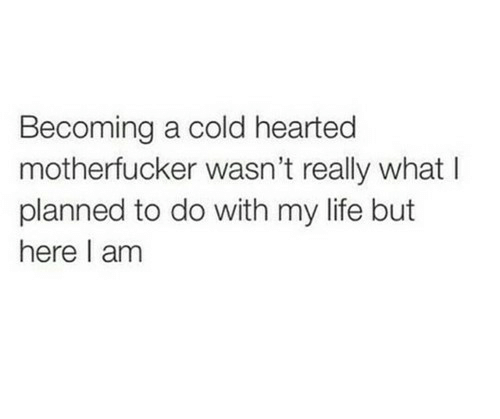 Life, Cold, and What: Becoming a cold hearted  motherfucker wasn't really what l  planned to do with my life but  here I am