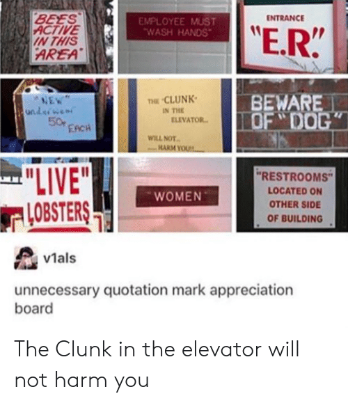 """Clunk: BEES  ENTRANCE  ACTIVE  IN THIS  EMPLOYEE MUST  WASH HANDS  E.R  AREA  BEWARE  OF DO  NE  CLUNK  IN THE  50  ELIVATOR  EACH  WILL NOT.  """"RESTROOMS  LOCATED ON  OTHER SIDE  OF BUILDING  WOMEN  LOBSTERS  vMals  unnecessary quotation mark appreciation  board The Clunk in the elevator will not harm you"""