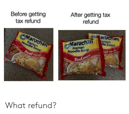 Beef, Tax Refund, and Tax: Before getting  tax refund  After getting tax  refund  0%  OMaruchan  Maruchan  le Soup  Ramern  Noodle Soup  Ramern  Noodle Soup  ef Flavor  eef Flavor  Beef flavor What refund?