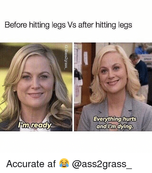 afs: Before hitting legs Vs after hitting legs  CO  lim readv  Everything hurts  and Iim dying Accurate af 😂 @ass2grass_