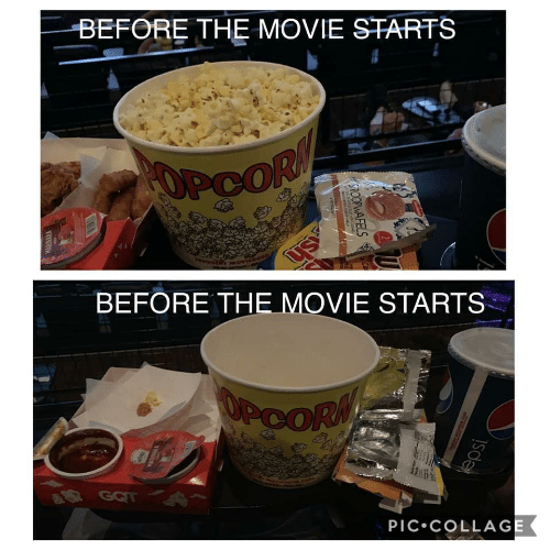 Movie, Got, and Pic: BEFORE THE MOVIE STARTS  OPCOR  BEFORE THE MOVIE STARTS  OPCORM  R GOT  PIC•COLLAGE  SPOOPWAFELS  WARINARA