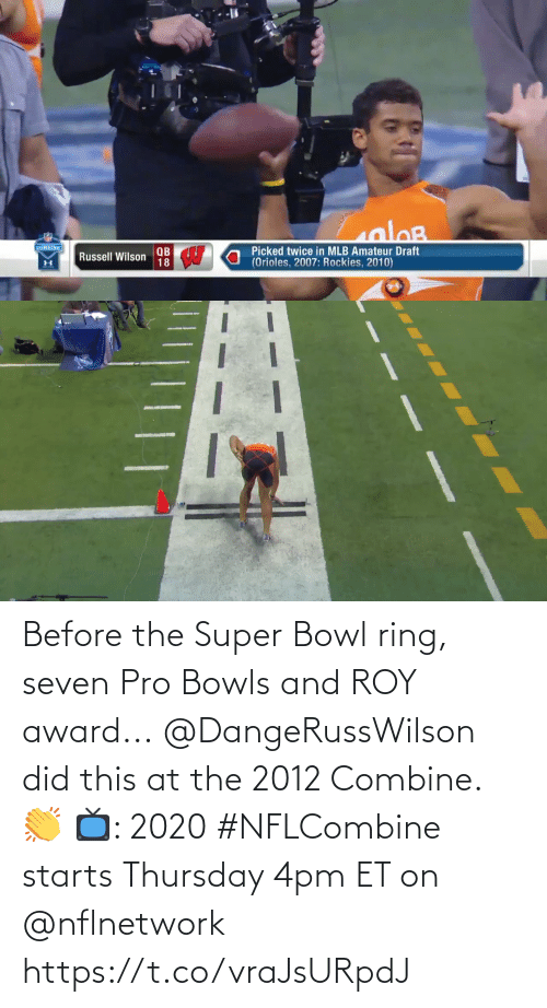 award: Before the Super Bowl ring, seven Pro Bowls and ROY award...  @DangeRussWilson did this at the 2012 Combine. 👏  📺: 2020 #NFLCombine starts Thursday 4pm ET on @nflnetwork https://t.co/vraJsURpdJ