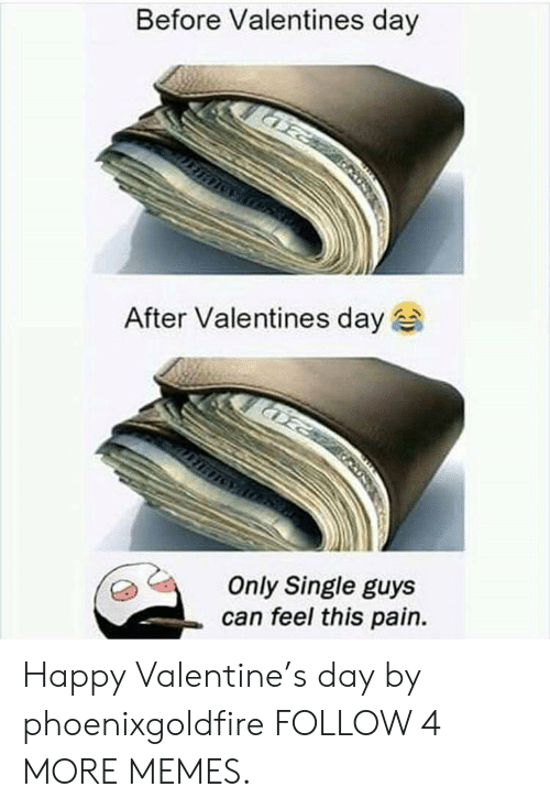 Happy Valentine: Before Valentines day  After Valentines day  Only Single guys  can feel this pain. Happy Valentine's day by phoenixgoldfire FOLLOW 4 MORE MEMES.
