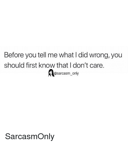 Funny, Memes, and Sarcasm: Before you tell me what I did wrong, you  should first know that I don't care.  @sarcasm_only SarcasmOnly