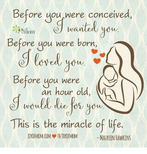 Conceivment: Before you were conceived,  wanted  you  of  Before you were born  Before you were  an hour old,  This is the miracle of life  MAUREENHAWKINS