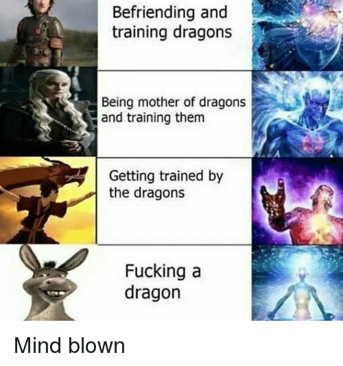 Fucking, Reddit, and Dragons: Befriending and  training dragons  Being mother of dragons  and training them  Getting trained by  the dragons  Fucking a  dragon Mind blown