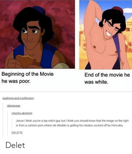 Aladdin, Cartoon, and Image: Beginning of the Movie  he was poor.  End of the movie he  was white  euphoria-and-sunflowers:  damaseas  chocho-akimichi  Jesse I think you're a top notch guy but I think you should know that the image on the right  is from a cartoon porn where ole Aladdin is getting his meatus sucked off by Hercules.  DELETE Delet
