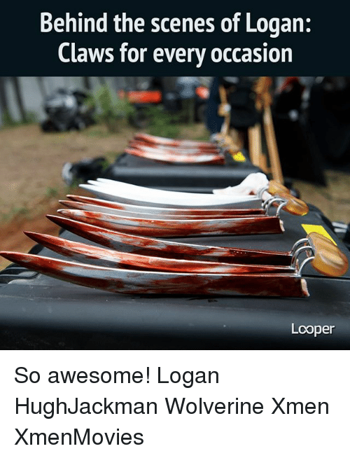loopers: Behind the scenes of Logan:  Claws for every occasion  Looper So awesome! Logan HughJackman Wolverine Xmen XmenMovies