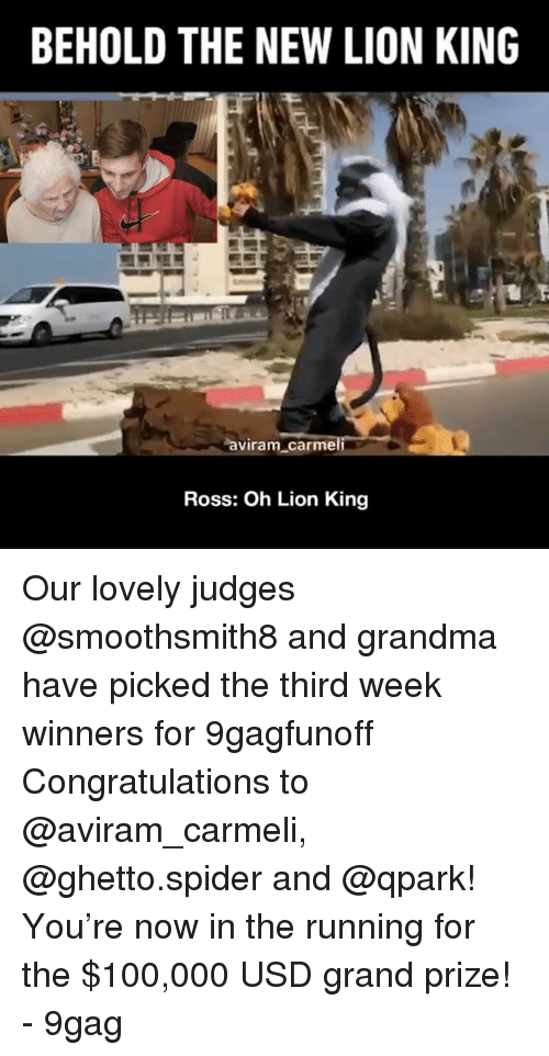 9gag, Anaconda, and Ghetto: BEHOLD THE NEW LION KING  aviram carme  Ross: Oh Lion King Our lovely judges @smoothsmith8 and grandma have picked the third week winners for 9gagfunoff Congratulations to @aviram_carmeli, @ghetto.spider and @qpark! You're now in the running for the $100,000 USD grand prize! - 9gag