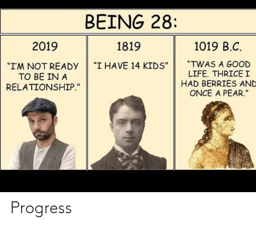 "In a Relationship: BEING 28  1019 B.C  2019  1819  ""TWAS A GOOD  LIFE. THRICEI  HAD BERRIES AND  ONCE A PEAR.""  ""I HAVE 14 KIDS""  ""IM NOT READY  TO BE IN A  RELATIONSHIP."" Progress"
