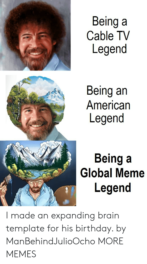 Globalism: Being a  Cable TV  Legend  Being an  American  Legend  Being a  Legend  2h  Global Meme I made an expanding brain template for his birthday. by ManBehindJulioOcho MORE MEMES