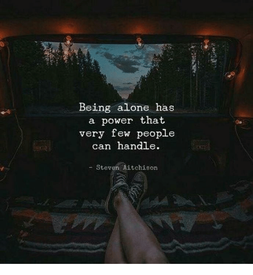 Being Alone, Power, and Can: Being alone has  a power that  very few people  can handle  - Steven Aitchison
