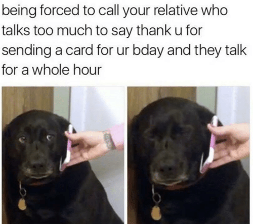Too Much, Who, and They: being forced to call your relative who  talks too much to say thank u for  sending a card for ur bday and they talk  for a whole hour