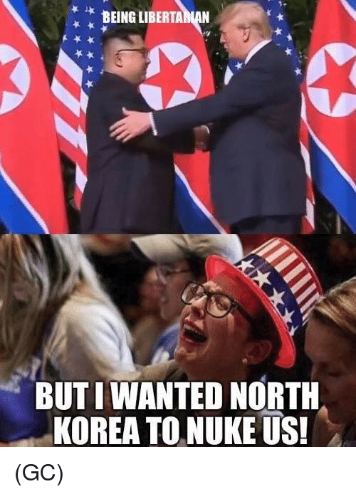 Memes, North Korea, and 🤖: BEING LIBERTA  BUT I WANTED NORTH  KOREA TO NUKE US! (GC)