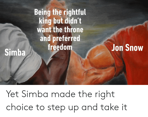 Jon Snow: Being the rightful  king but didn't  want the throne  and preferred  freedom  Jon Snow  Simba Yet Simba made the right choice to step up and take it