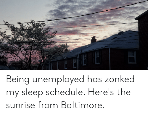 Unemployed: Being unemployed has zonked my sleep schedule. Here's the sunrise from Baltimore.