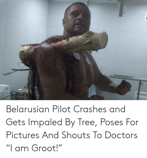 "Pictures, Tree, and Doctors: Belarusian Pilot Crashes and Gets Impaled By Tree, Poses For Pictures And Shouts To Doctors ""I am Groot!"""