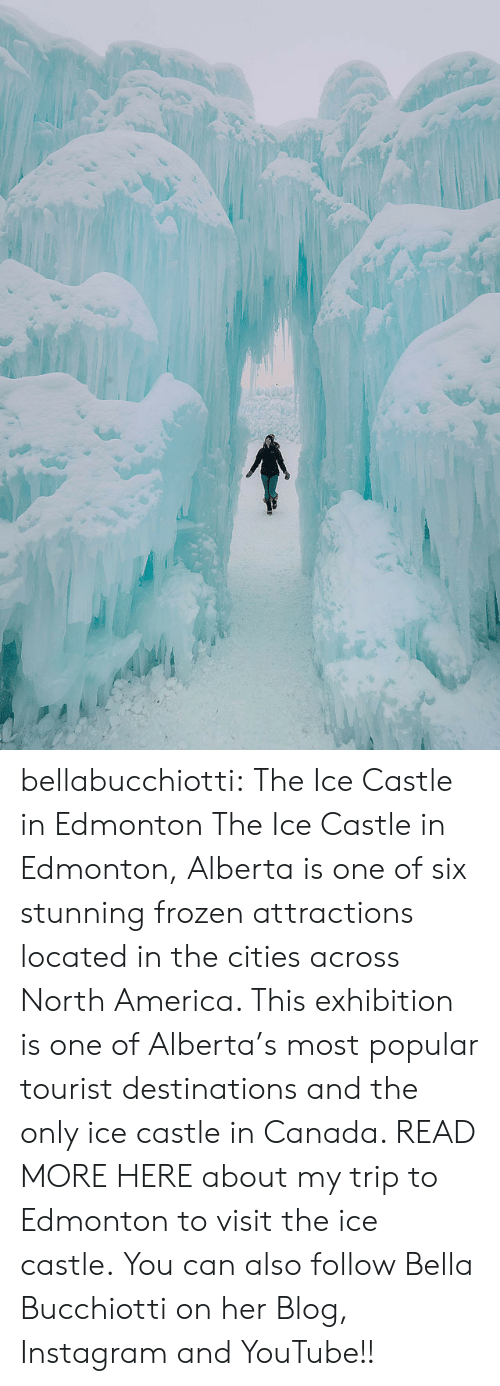 bella: bellabucchiotti: The Ice Castle in Edmonton  The Ice Castle in Edmonton, Alberta  is one of six stunning frozen attractions located in the cities across  North America. This exhibition is one of Alberta's most popular tourist  destinations and the only ice castle in Canada. READ MORE HERE about my trip to Edmonton to visit the ice castle.  You can also follow Bella Bucchiotti on her Blog, Instagram and YouTube!!