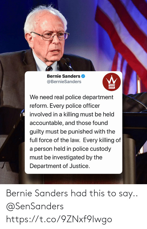 Bernie Sanders: Bernie Sanders had this to say.. @SenSanders https://t.co/9ZNxf9Iwgo