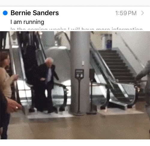 Bernie Sanders, Running, and Bernie: Bernie Sanders  I am running  1:59 PM