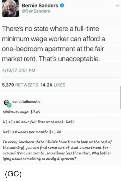Bernie Sanders: Bernie Sanders  @SenSanders  There's no state where a full-time  minimum wage worker can afford a  one-bedroom apartment at the fair  market rent. That's unacceptable.  4/10/17, 3:51 PM  5,379 RETWEETS 14.2K LIKES  constitutioncutie  Minimum wage: $7.25  $7.25 x 40 hour full time work week: $290  $290 x 4 weeks per month: $1,160  In every Southern state (didn't have time to look at the rest of  the country) you can fimd some sort of studio apartment for  around $500 per month, sometimes less than that. Why bother  lying about something so easily disproven? (GC)