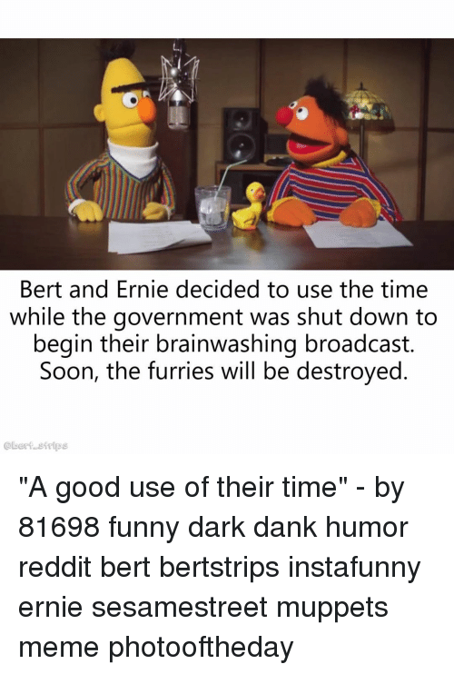"""broadcast: Bert and Ernie decided to use the time  while the government was shut down to  begin their brainwashing broadcast.  Soon, the furries will be destroyed  @bert strips """"A good use of their time"""" - by 81698 funny dark dank humor reddit bert bertstrips instafunny ernie sesamestreet muppets meme photooftheday"""