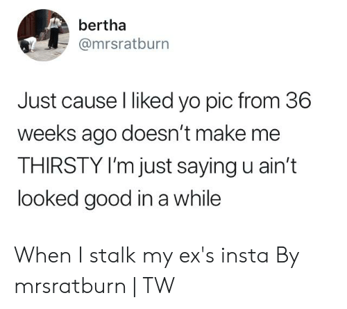 Im Just Saying: bertha  @mrsratburn  Just cause l liked yo pic from 36  weeks ago doesn't make me  THIRSTY I'm just saying u ain't  looked good in a while When I stalk my ex's insta  By mrsratburn | TW