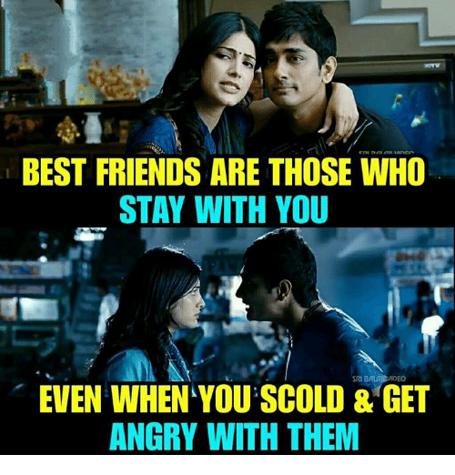 Friends, Memes, and Best: BEST FRIENDS ARE THOSE WHO  STAY WITH YOU  EVEN WHEN YOU SCOLD & GET  ANGRY WITH THEM