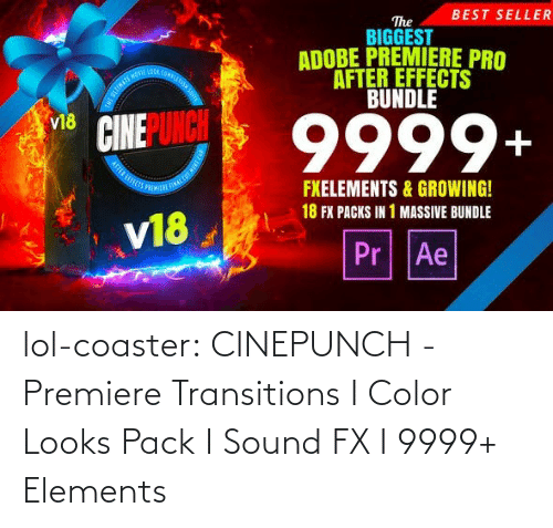 growing: BEST SELLER  The  BIGGEST  ADOBE PREMIERE PRO  AFTER EFFECTS  BUNDLE  OOA COMPLE  9999+  v18  FXELEMENTS & GROWING!  18 FX PACKS IN 1 MASSIVE BUNDLE  v18  Pr Ae lol-coaster:  CINEPUNCH - Premiere Transitions I Color Looks Pack I Sound FX I 9999+ Elements