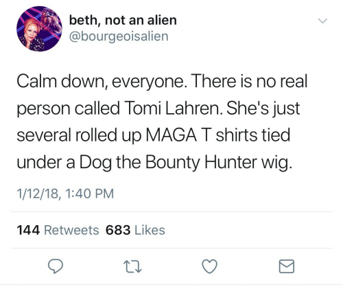 bounty hunter: beth, not an alien  @bourgeoisalien  Calm down, everyone. There is no real  person called Tomi Lahren. She's just  several rolled up MAGA T shirts tied  under a Dog the Bounty Hunter wig  1/12/18, 1:40 PM  144 Retweets 683 Likes