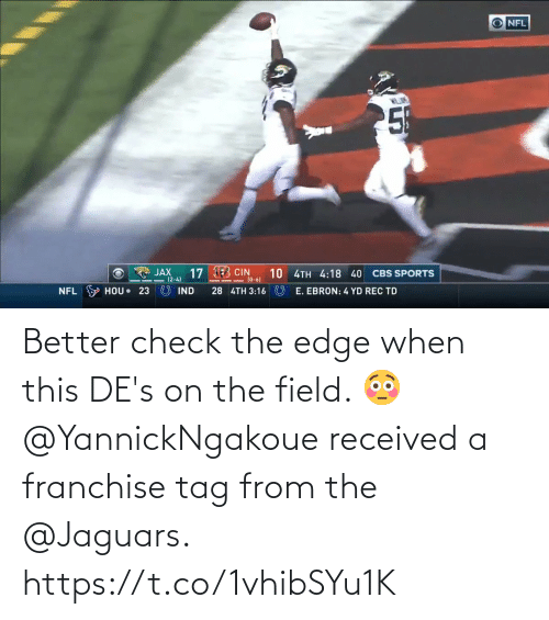 jaguars: Better check the edge when this DE's on the field. 😳  @YannickNgakoue received a franchise tag from the @Jaguars. https://t.co/1vhibSYu1K