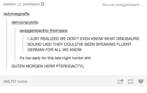 Tumblr Shitting: bewbin  joshfasho  Source: swaggersback  redvinesgiraffe:  democracy kills:  swaggers backto-theimpala:  I JUST REALIZED WE DON'T EVEN KNOW WHAT DINOSAURS  SOUND LIKE! THEY COULD'VE BEEN SPEAKING FLUENT  GERMAN FOR ALL WE KNOW  it's too early for this late night tumblr shit  GUTEN MORGEN HERR PTERODACTYL  388,731 notes